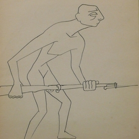 J.Soteras : Man with a rifle and bayonet, Soteras, Jorge (1917, Barcelona - 1990, Bonnieux)